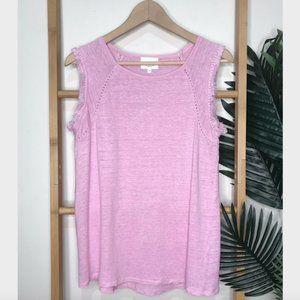 Seed Heritage Pink Linen Sleeveless Fringe Top XS